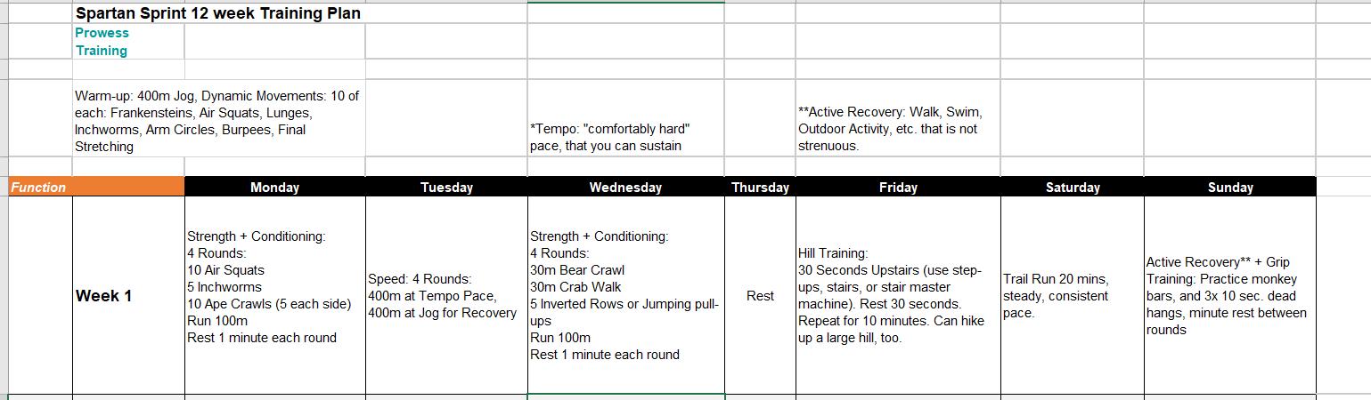 Spartan Sprint Training Plan